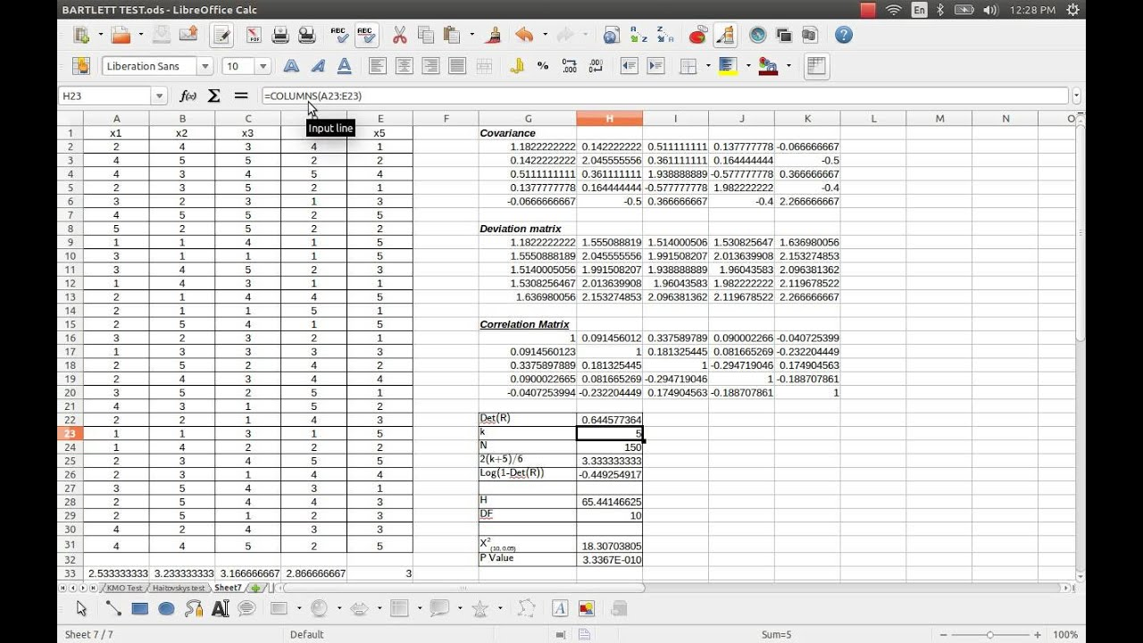 Haitovskys Test Of Singularity For Exploratory Factorysis Through Excel Or Calc