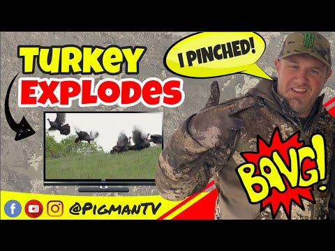 Turkey Explodes into Back Flip!! Archery Kill in California!