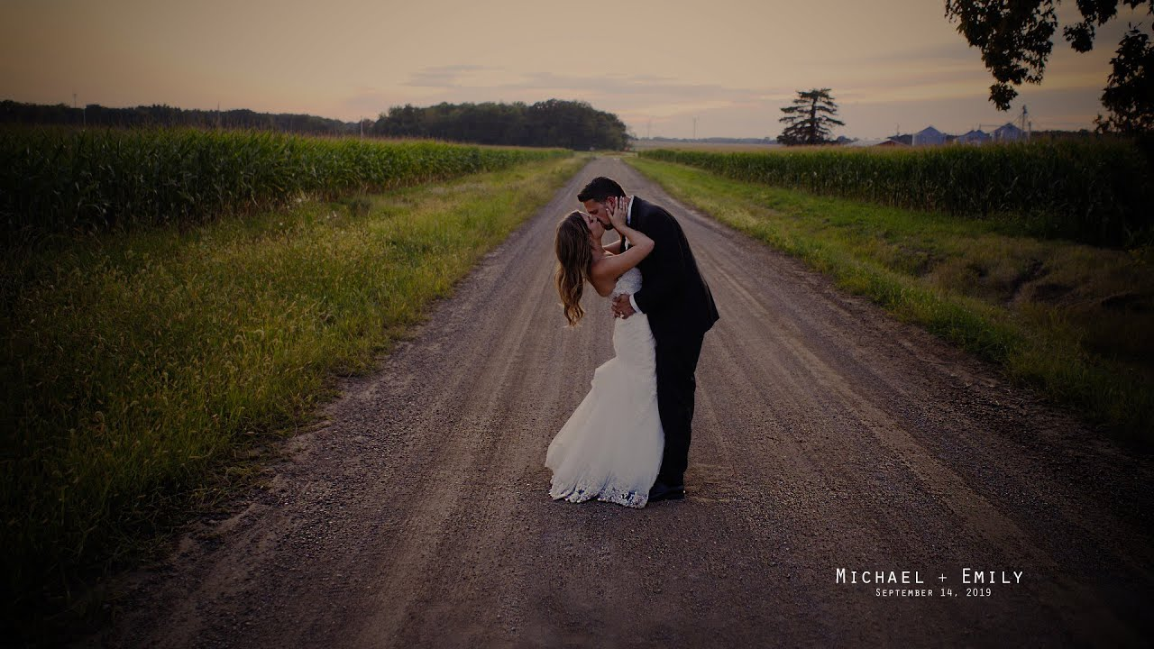 """Couple's favorite band plays """"their"""" song at wedding, Michael and Emily at Blissful Barn, Michigan"""