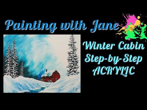 Winter Cabin Step by Step Acrylic Painting on Canvas for Beginners