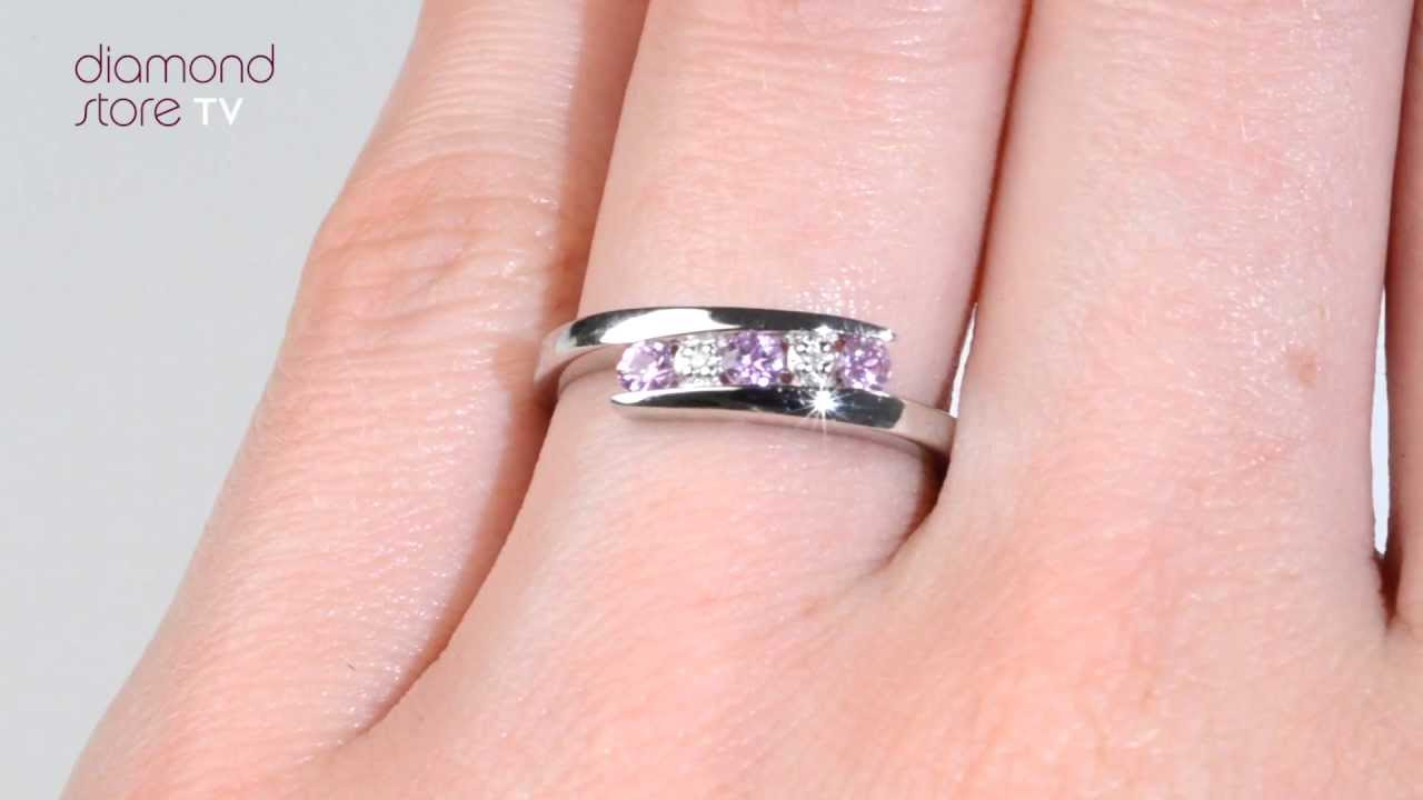 N4443 - Pink Sapphire 0.21ct And Diamond 18K White Gold Ring - YouTube