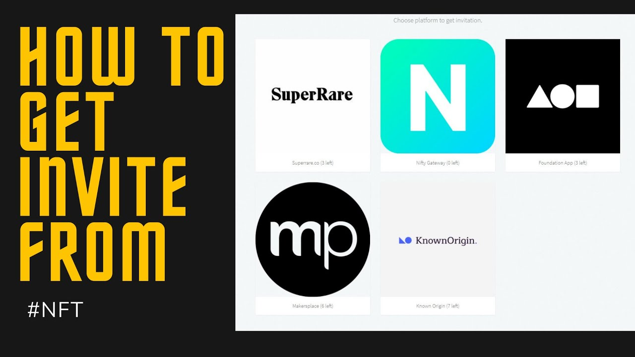 How to get invite code for Foundation.app  Superrare.co Makersplace Nifty Gateway  Known Origin