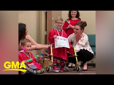 Mark - WHEELCHAIR-BOUND PRESCHOOLER WALKS ACROSS GRADUATION STAGE (Try not to cry)