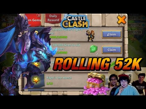 Castle Clash: Rolling 52K Gems For ICB | Rolling For Heroes & Events For Artica