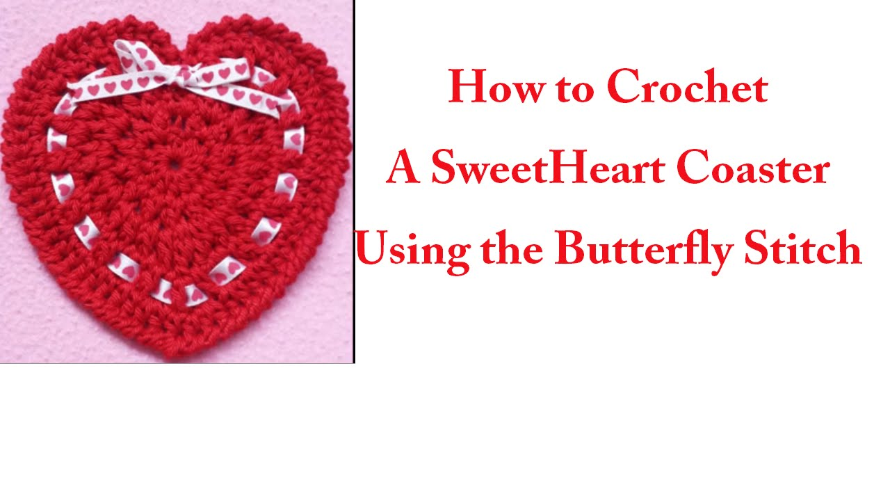 How To Crochet A Sweet Heart Coaster (Tutorial) - YouTube