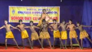 Vittal JCI EM School annual day celebration atractive tribal dance by students Adventure dance