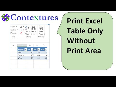 Print Excel Table Only Without Setting Print Area