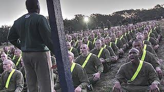 Marine Corps Recruits Undergoing Initial Strength Test