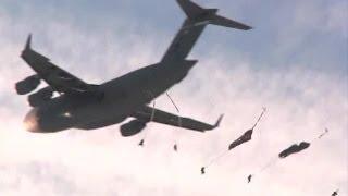 Spartan Paratroopers Exit C-17. Part 1/2