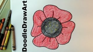 How To Draw an Easy Poppy For Kids.- Video Drawing Tutorial - Remembrance Day /Veterans