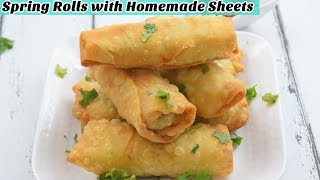 Veg Spring Rolls with Homemade Sheets - Samosa Patti - Manda Patti - Store for 1 Month in freezer