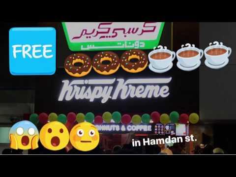 FREE KRISPY KREME DOUGHNUTS AND COFFEE in Hamdan St. Abu Dhabi, UAE🍩☕️