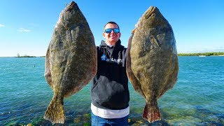 2 Record BREAKING Fish in 1 Day! Catch Clean Cook (GIANT Flounder)