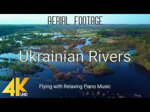 4K Aerial Footage of Ukrainian Rivers - Flying with Relaxing Piano Music