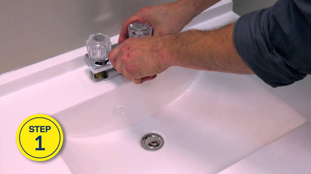 RONA - How to Install or Replace a Bathroom Faucet - YouTube How To Change Bathroom Sink Faucet on change kitchen faucet, change bathroom sink pipes, change single hole sink faucet, change bathtub faucet,