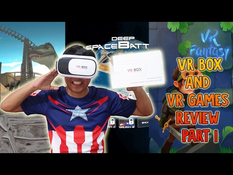 VR Box and VR Games Review Part 1 - Jurassic Roller Coaster VR - Deep Space Battle VR - VR Fantasy