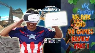 VR Box and VR Games Review Part 1 - Jurassic Roller Coaster VR - Deep Space Battle VR - VR Fantasy