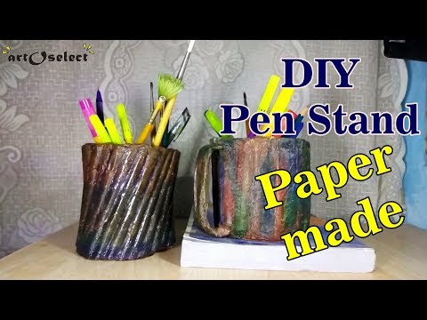 How to make paper DIY Pen stand with wooden look - Tutorial