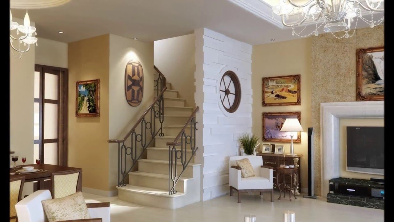 Living Room Stairs Home Design Ideas Youtube | Ceiling Design For Stairs Area | Stairwell | Accent Lighting | Cake Shop | Cafeteria | L Shape
