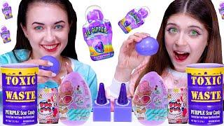 ASMR *Purple Food* Mukbang   Jelly Cube, Bubble Gum, Sour Candy