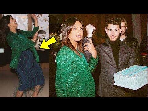 Priyanka Chopra Flaunts her BABY BUMP  with hubby Nick Jonas in a party ❤