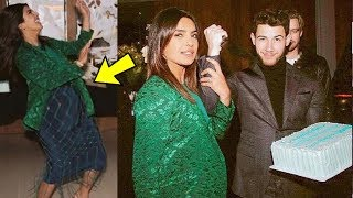 Priyanka Chopra Flaunts her BABY BUMP  with hubby Nick Jonas in a party ❤