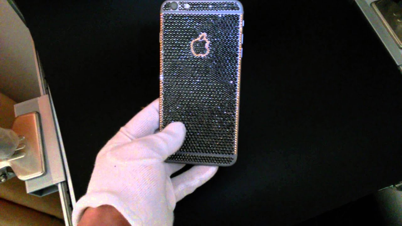 black and gold iphone iphone 6 plus with black gold swarovski crystals 3878