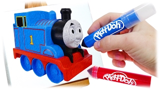 Color Train Thomas and Friends, Play Doh Markers Drawing by Different Colors Trains for Children