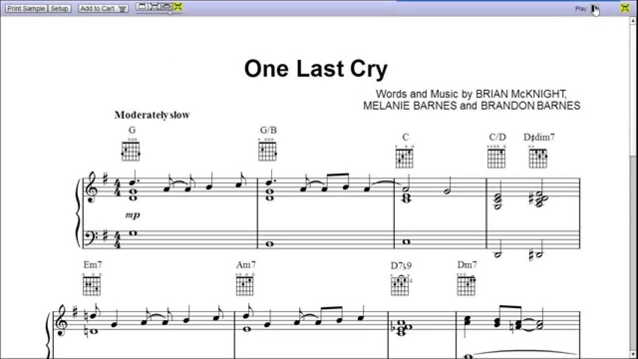 One last cry by brian mcknight piano sheet musicteaser youtube one last cry by brian mcknight piano sheet musicteaser hexwebz Image collections