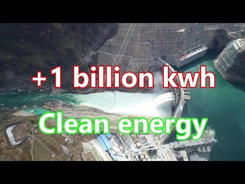 China's Baihetan Hydropower Station generated over 1 billion kWh of clean energy   中国白河滩水电站已产生清洁能源。