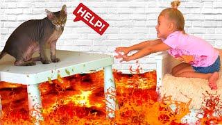 ПОЛ ЭТО ЛАВА от Ева - The floor is lava   История про спасение кошки