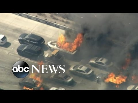 Wildfire Burns Cars on California Interstate