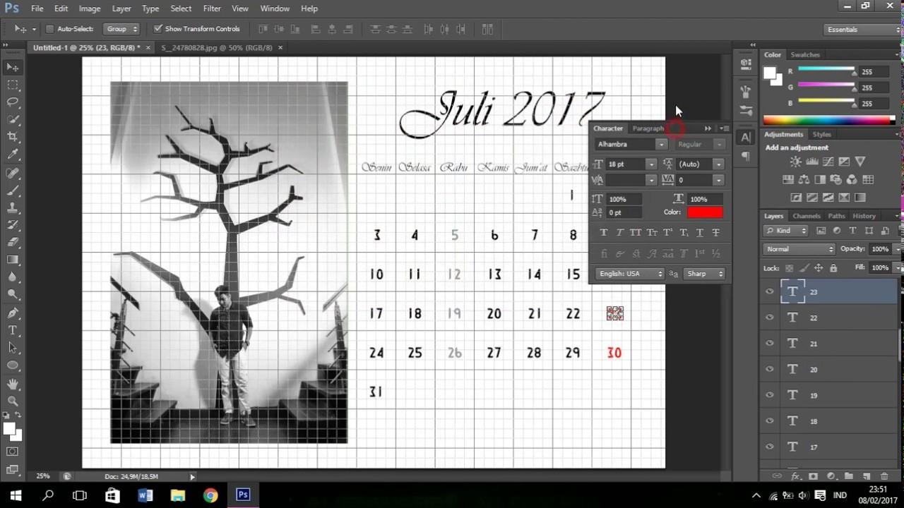 Cara Membuat Kalender Mudah Photoshop Tutorial - YouTube