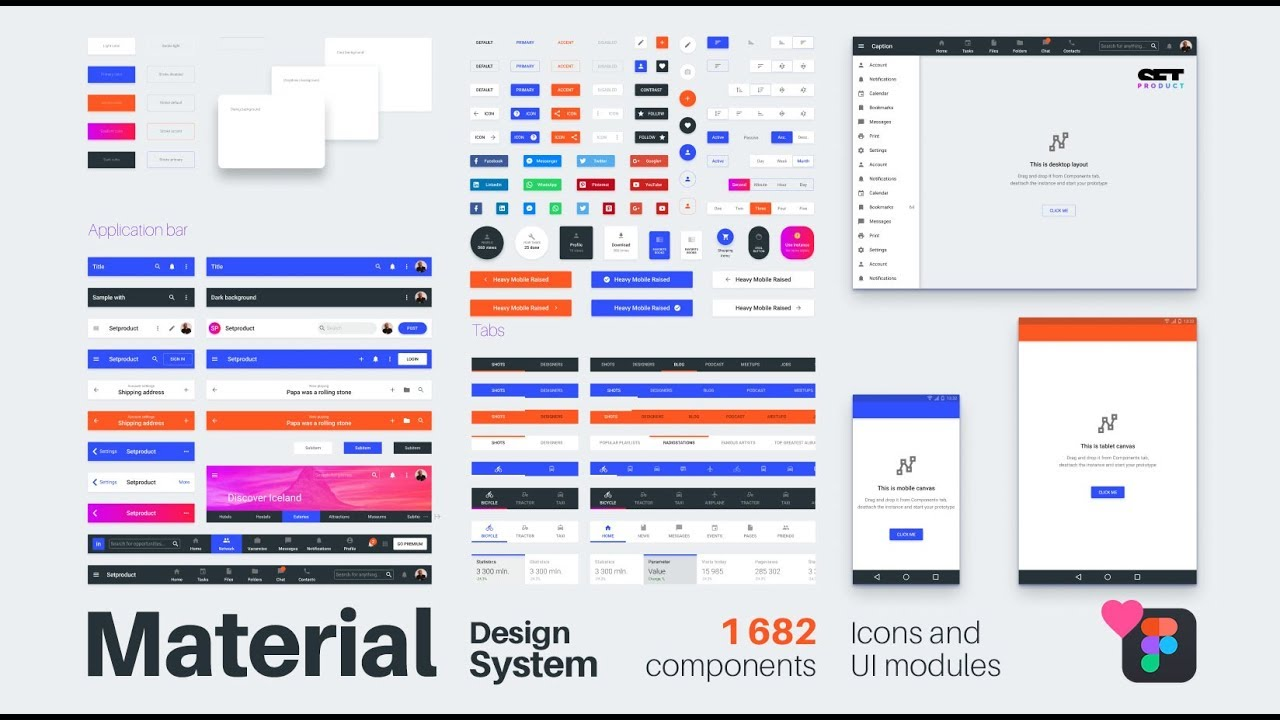 Material Design System for business  1682 components in Figma team library