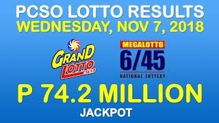Lotto Result November 7 2018 PCSO (Grand Lotto 6/55, Mega Lotto 6/45 results)