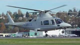 A109 Agusta Helicopter low level maneuvers at KBFI Seattle