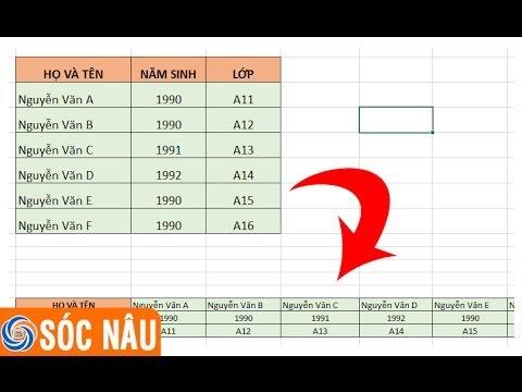 Cách chuyển dữ liệu từ dạng cột thành hàng trong Excel