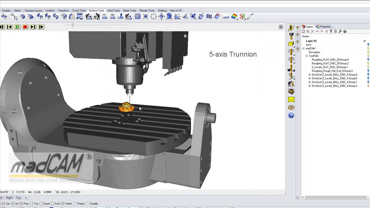hight resolution of madcam 5xtra supports all kinds of 5 axis machines