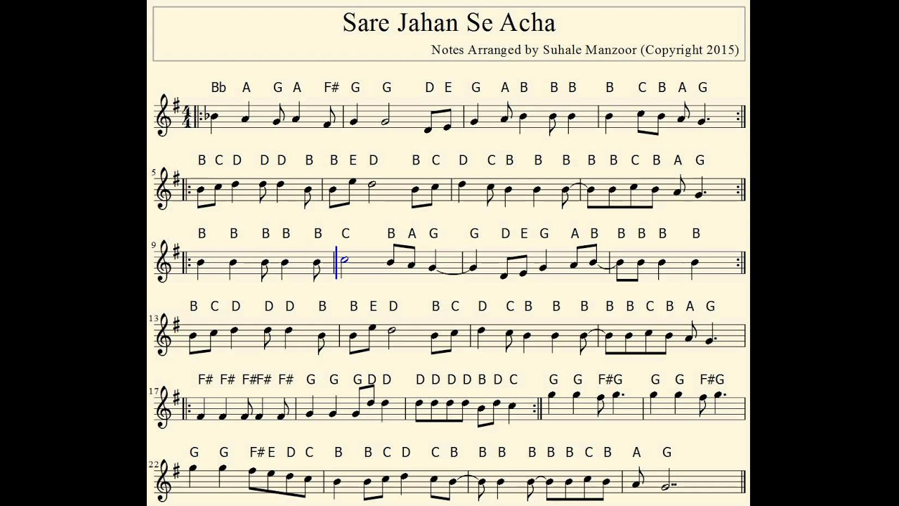 Piano Key Notes Sare Jahan Se Accha Visit Vibrasoft Com To Download More