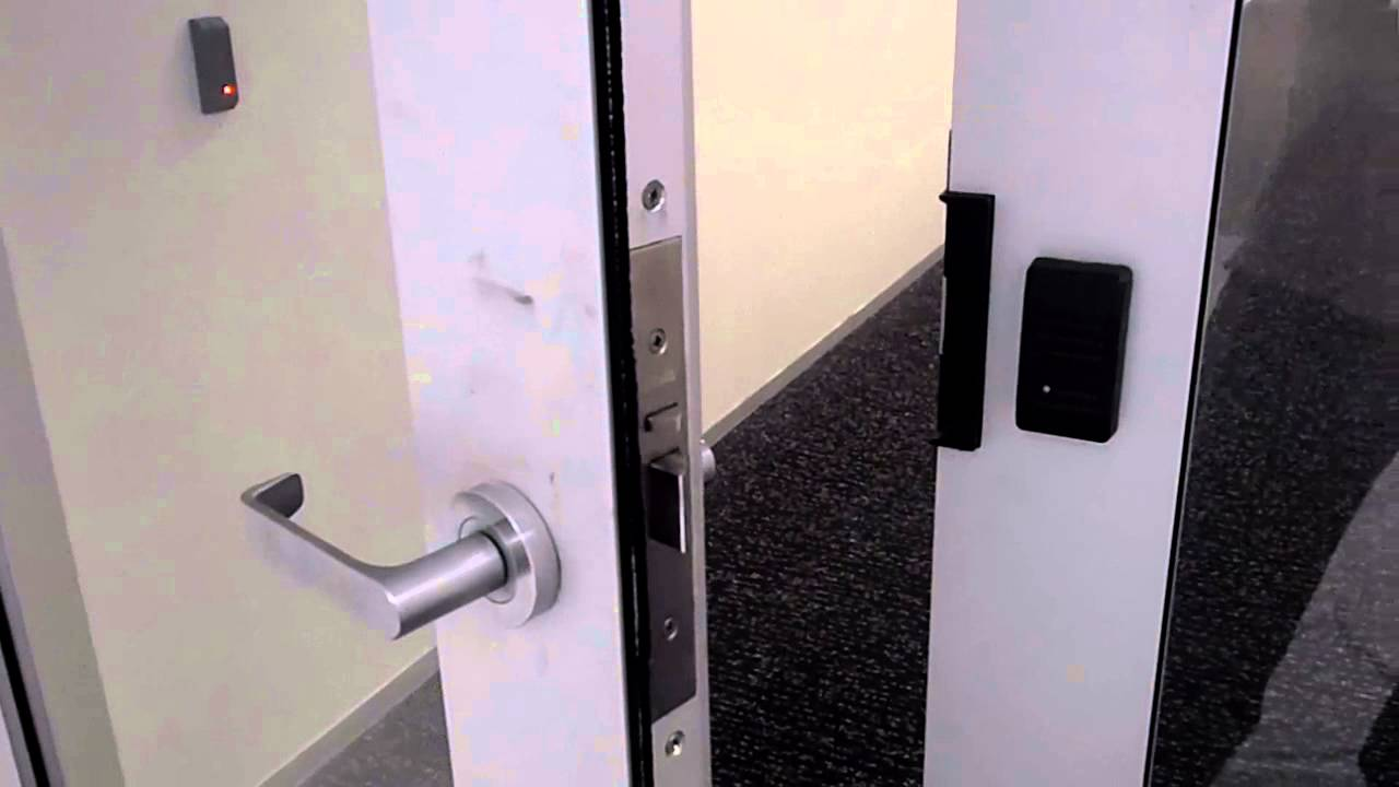 Automatic door locking access swipe card & Automatic door locking access swipe card - YouTube