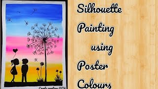 Romantic Couple silhouette painting using poster colours ll How to paint using water colours