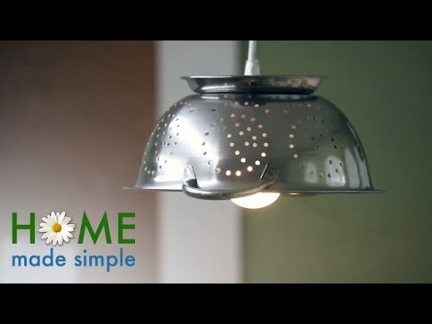 DIY: Make a Hanging Colander Lamp for Your Kitchen | Home Made Simple | Oprah Winfrey Network