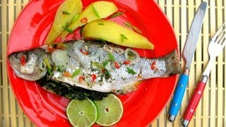 Grilled Sea Bass Stuffed With Jamaican Callaloo.