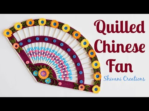 Quilled Paper Fan/ How to make Chinese Fan/ Newspaper Fan for Wall Hanging