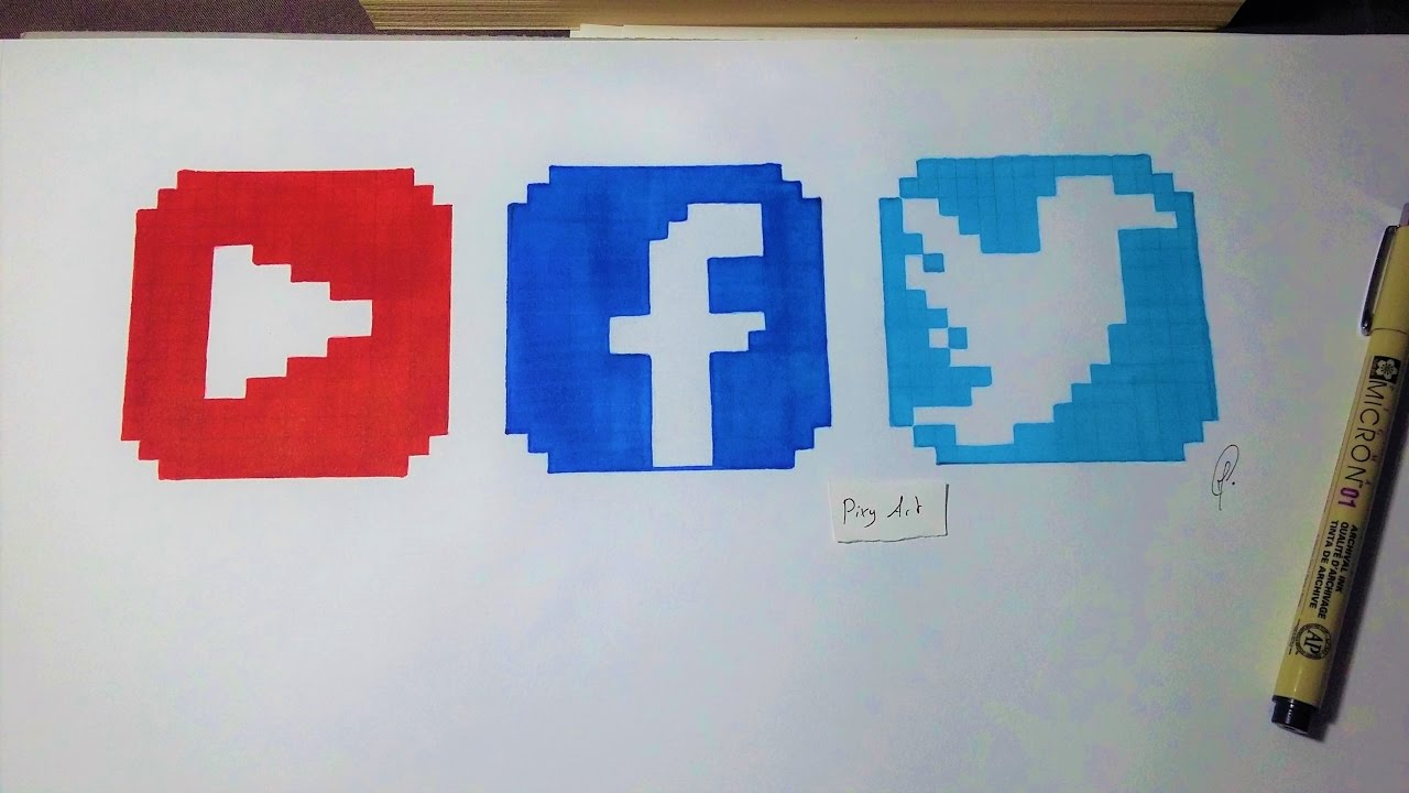 Social Media Logo Pixel Art
