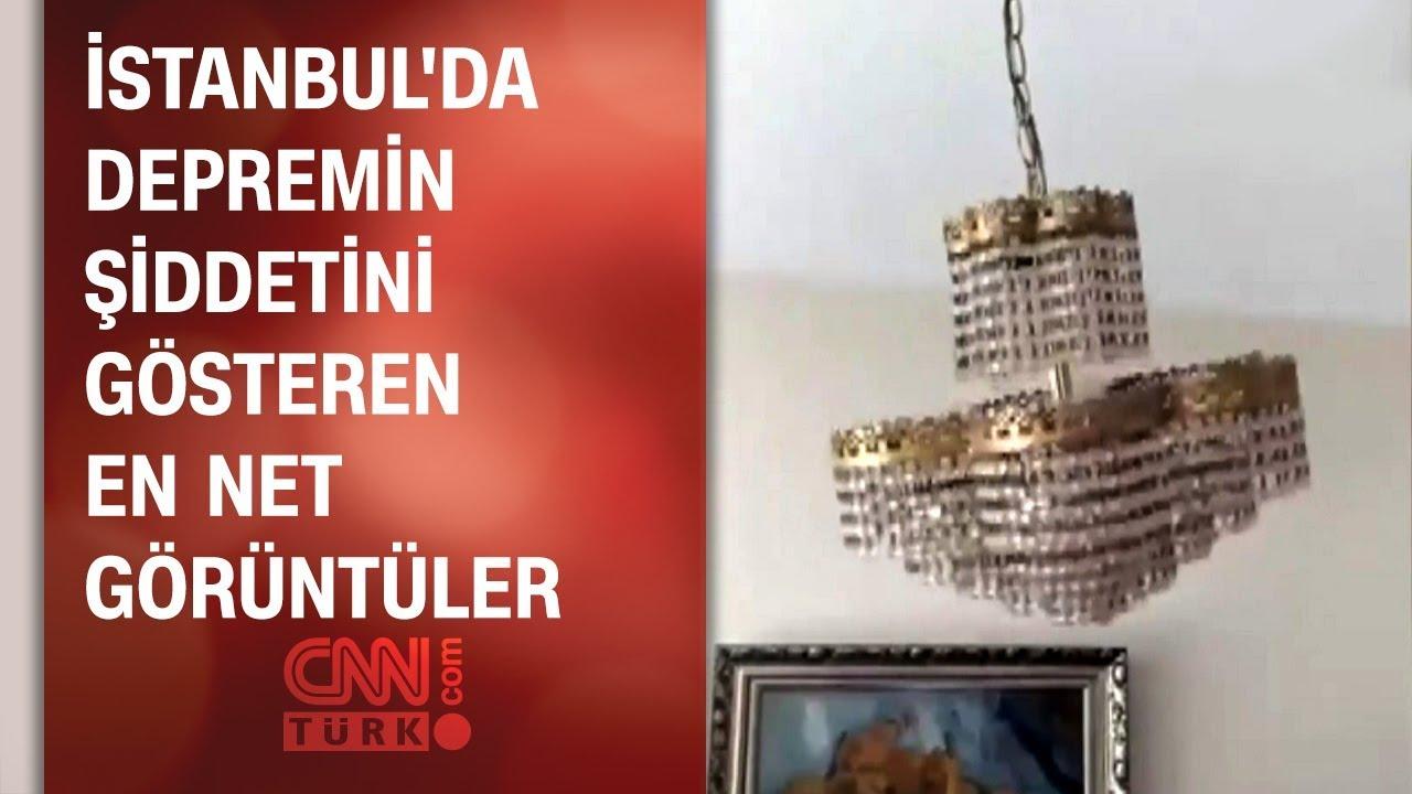İstanbul'da depremin şiddetini gösteren en net görüntüler: Beşik gibi sallandı!
