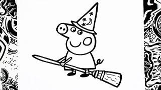 como dibujar a peppa | halloween | how to draw peppa pig