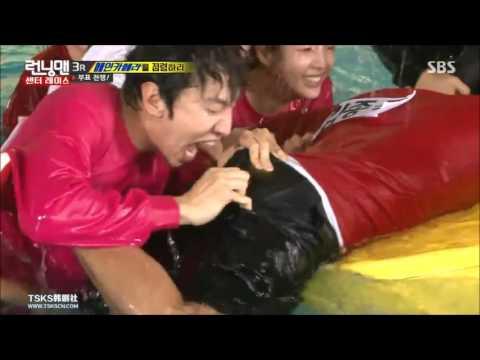 (Running Man EP299) Jong Kook's buttocks being bited by Kwang Soo