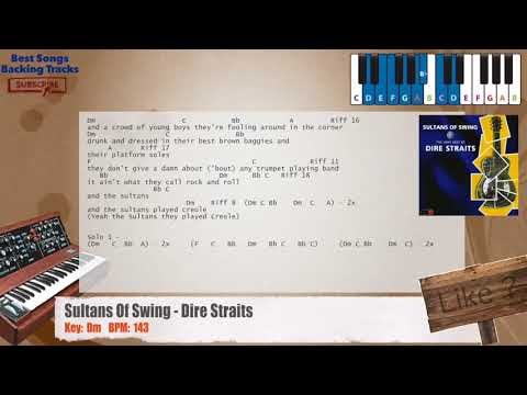 Sultans Of Swing - Dire Straits Piano Backing Track with chords and lyrics
