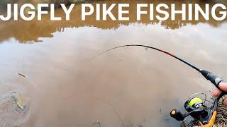 Winter Pike Fishing with Jig Flies river fishing